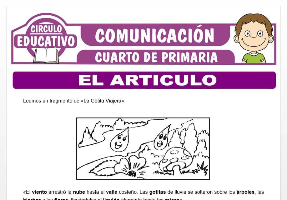 Actividades sobre el Artículo para Cuarto de Primaria