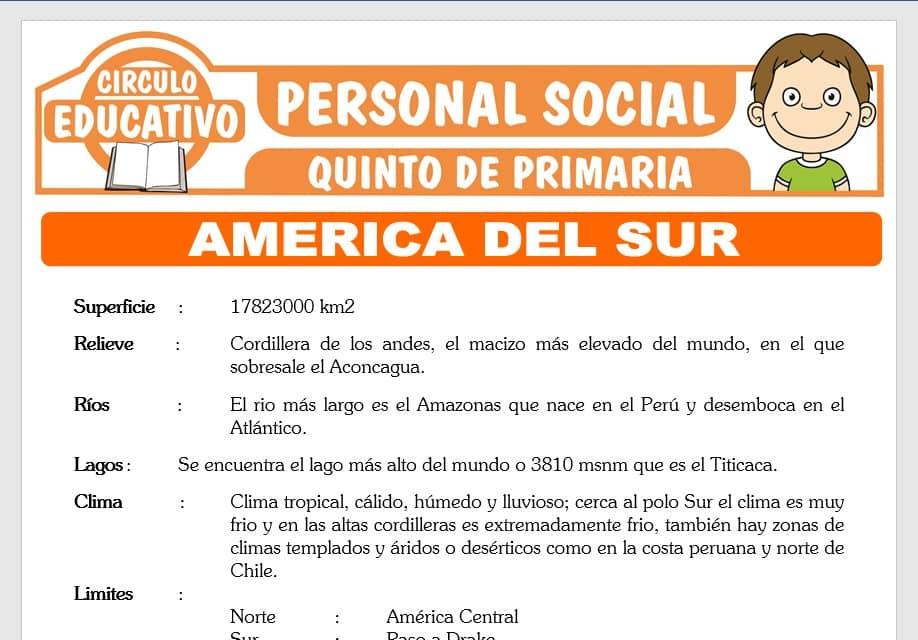 America del Sur para Quinto de Primaria