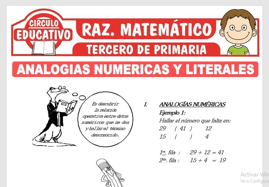 Analogías Numéricas y Literales para Tercero de Primaria