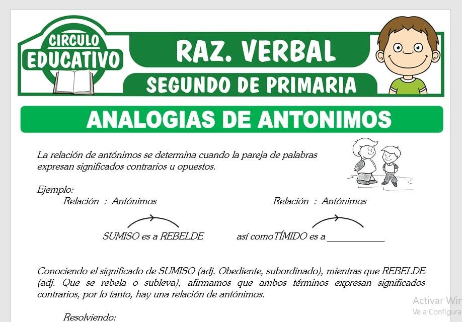 Analogías de Antónimos para Segundo de Primaria