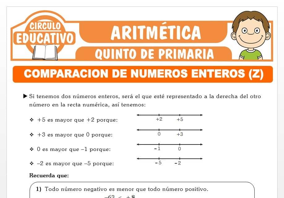 Comparación de Números Enteros para Quinto de Primaria