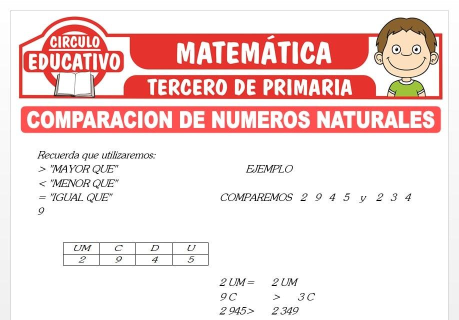 Comparación de Números Naturales para Tercero de Primaria