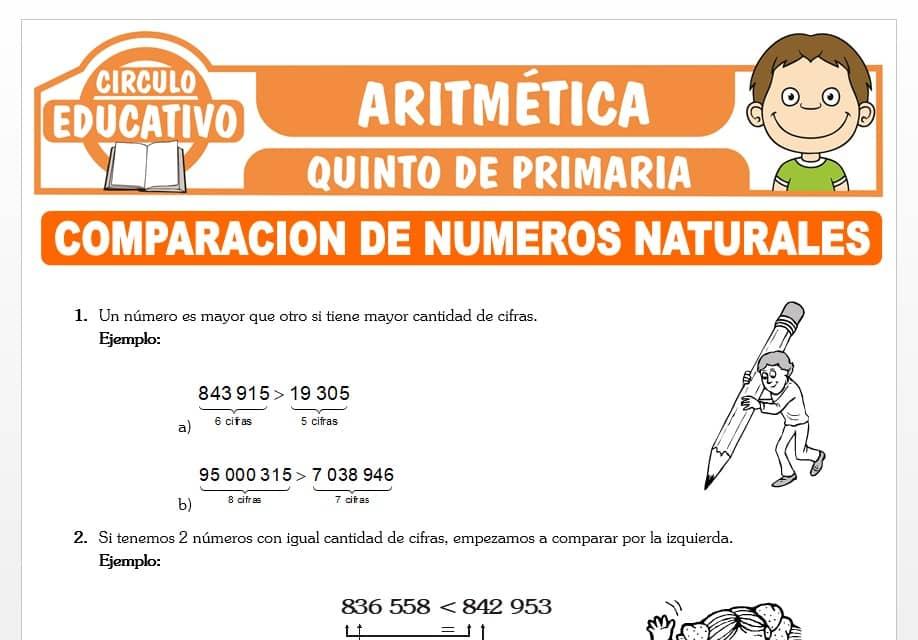 Comparando Números Naturales para Quinto de Primaria
