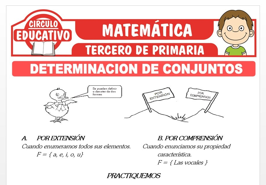 Determinación por Extensión y por Comprensión para Tercero de Primaria