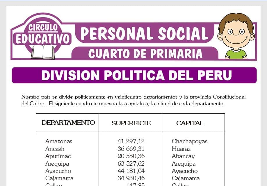 División Política del Perú para Cuarto de Primaria