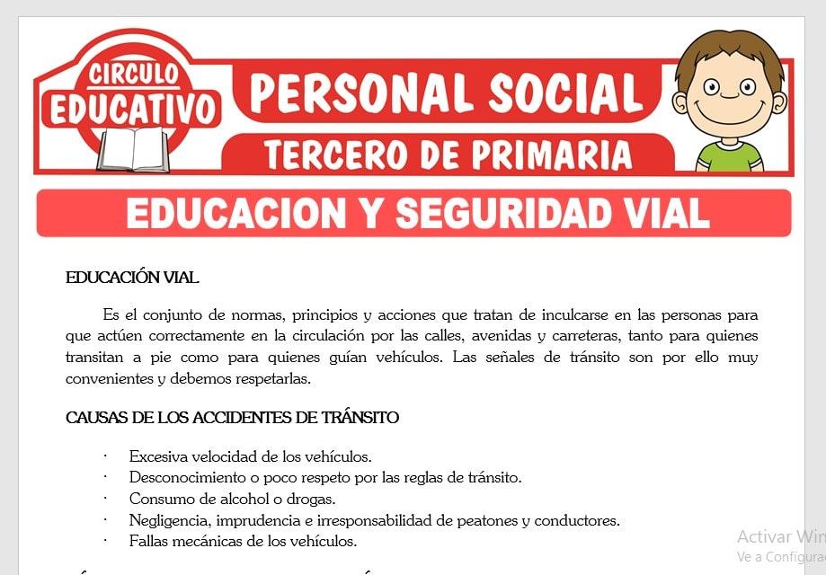 Educación y Seguridad Vial para Tercero de Primaria