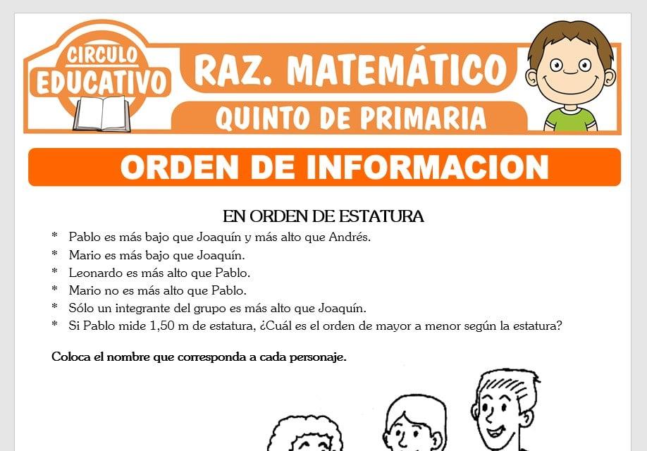 Ejercicios de Orden de Información para Quinto de Primaria
