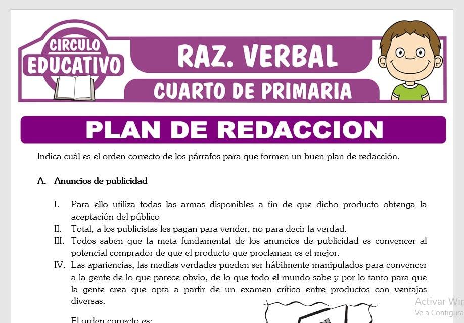 Ejercicios de Plan de Redacción para Cuarto de Primaria