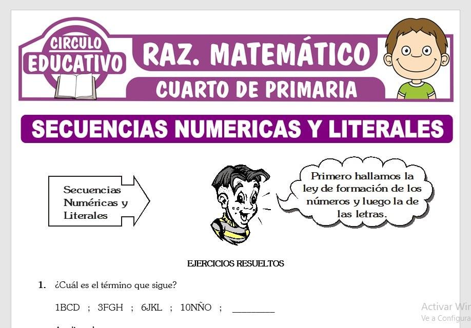 Ejercicios de Secuencias Numéricas y Literales para Cuarto de Primaria