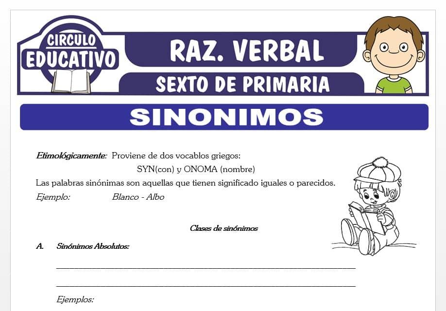 Ejercicios de Sinónimos para Sexto de Primaria