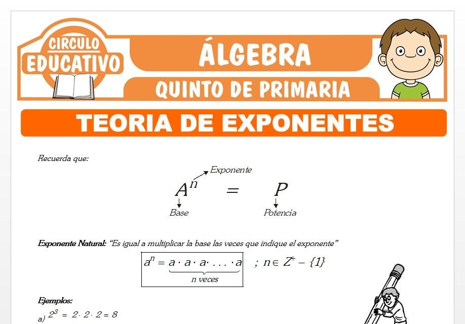 Ejercicios de Teoría de Exponentes para Quinto de Primaria
