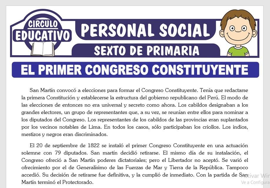 El Primer Congreso Constituyente para Sexto de Primaria