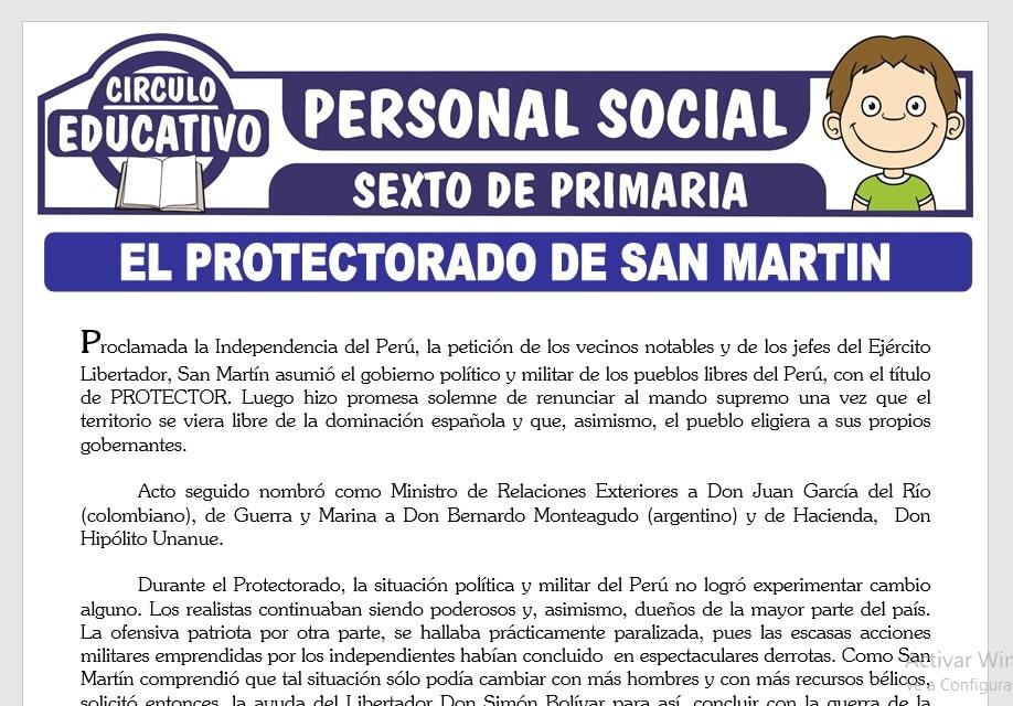 El Protectorado de San Martin para Sexto de Primaria