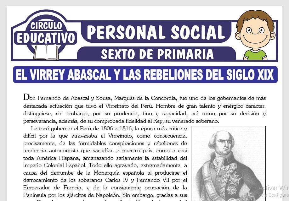 El Virrey Abascal y las Rebeliones del Siglo XIX para Sexto de Primaria
