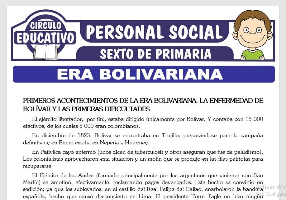 Era Bolivariana para Sexto de Primaria