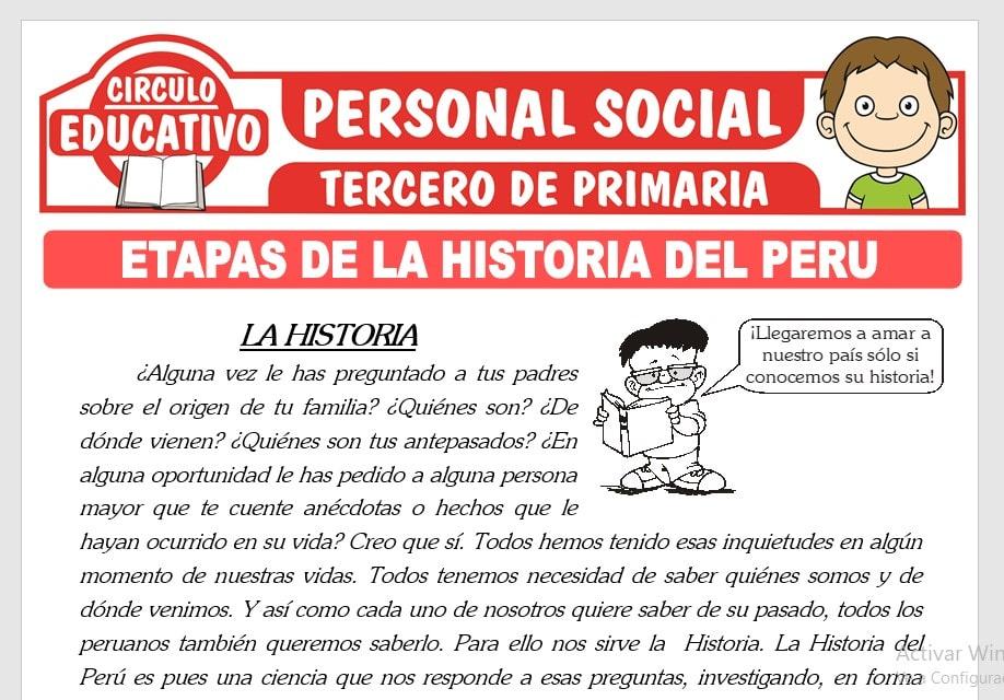 Etapas de la Historia del Perú para Tercero de Primaria