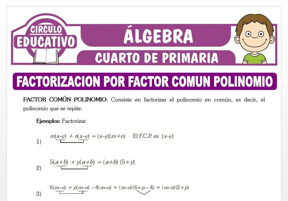 Factorizacion por Factor Común Polinomio para Cuarto de Primaria