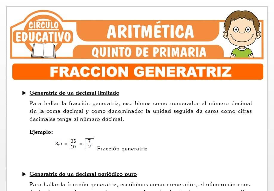 Fracción Generatriz para Quinto de Primaria