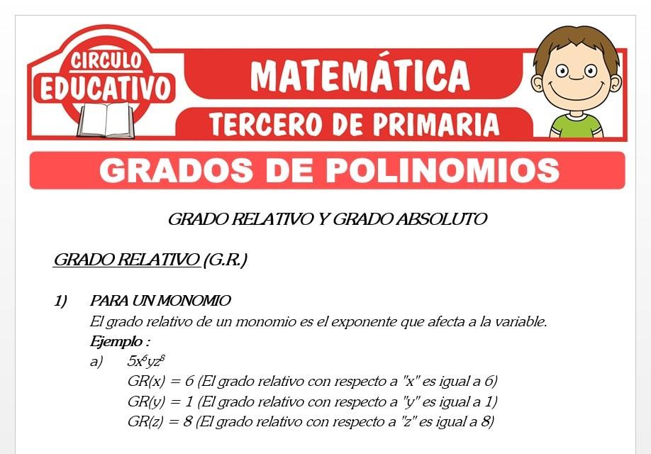 Grados de Polinomios para Tercero de Primaria