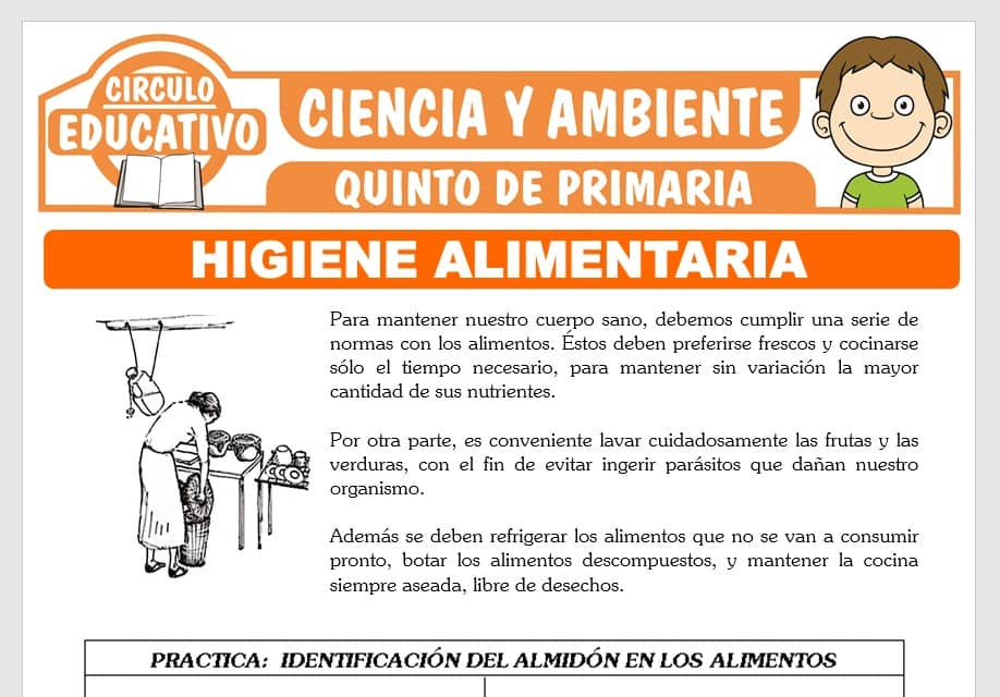 Higiene Alimentaria para Quinto de Primaria