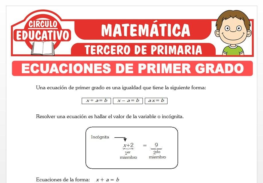 Introducción a las Ecuaciones de Primer Grado para Tercero de Primaria