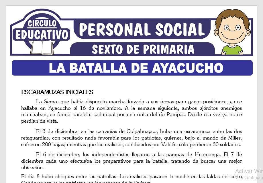 La Batalla de Ayacucho para Sexto de Primaria