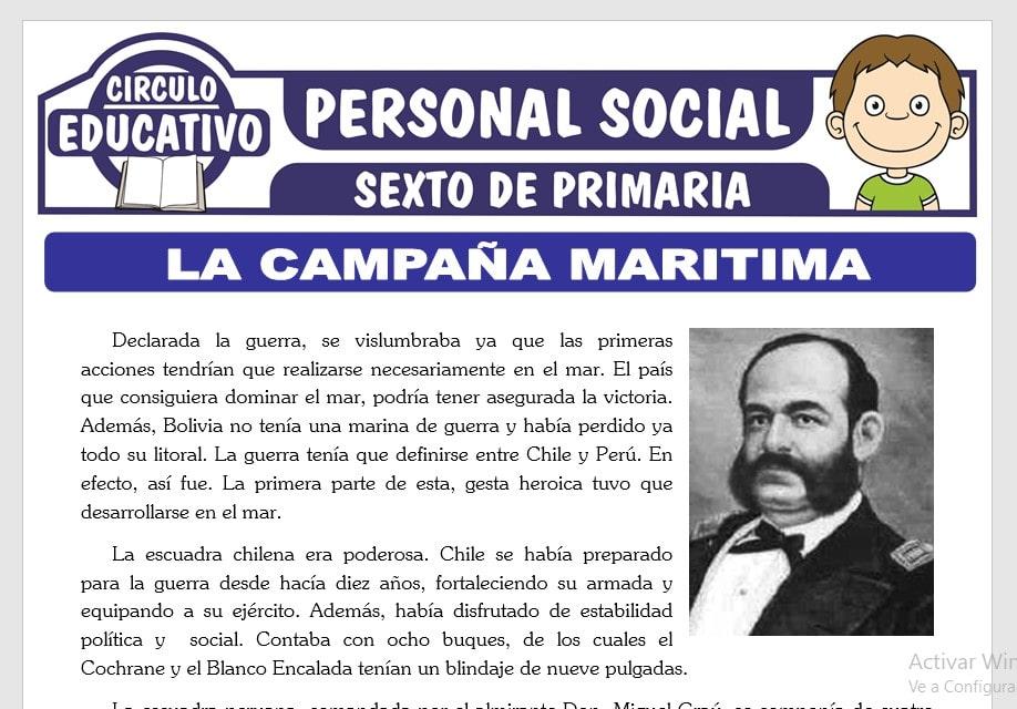 La Campaña Marítima de la Guerra con Chile para Sexto de Primaria