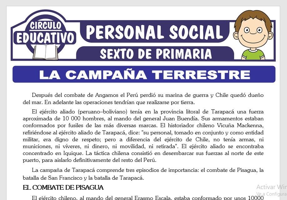 La Campaña Terrestre de la Guerra con Chile para Sexto de Primaria