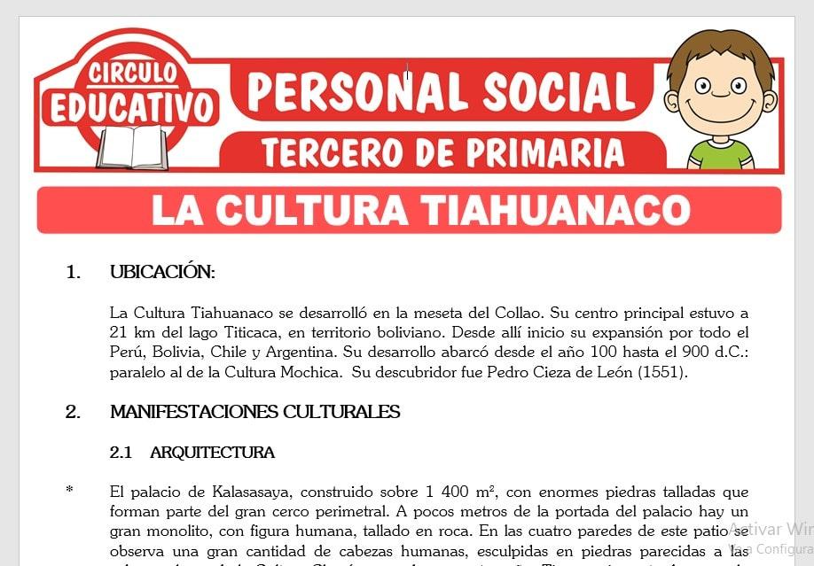 La Cultura Tiahuanaco para Tercero de Primaria