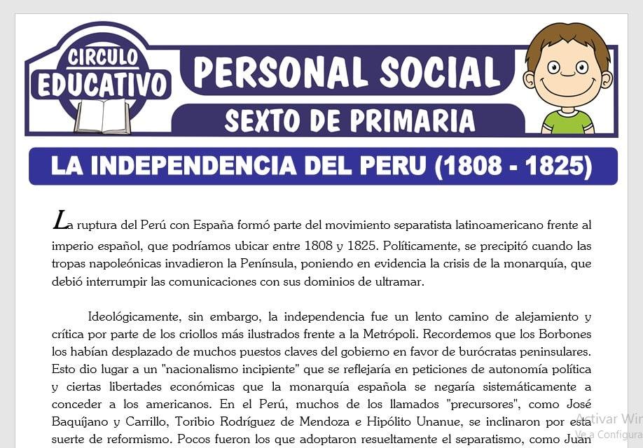 La Independencia del Perú para Sexto de Primaria