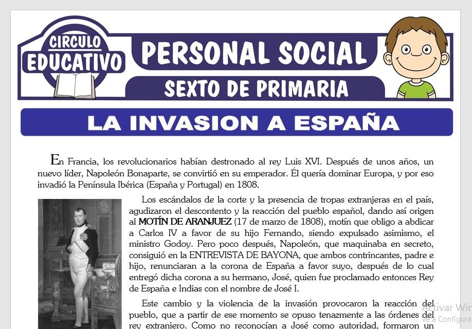 La Invasión a España para Sexto de Primaria