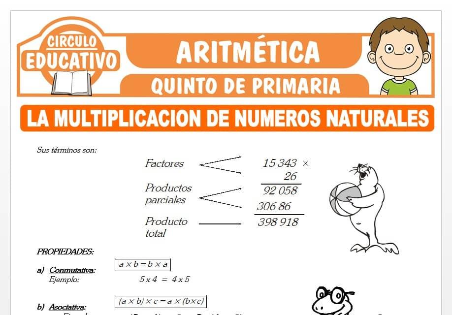 La Multiplicación de Números Naturales para Quinto de Primaria