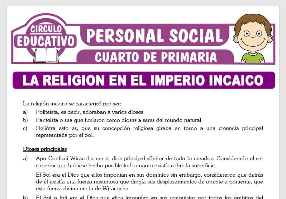 La Religión en el Imperio Incaico para Cuarto de Primaria