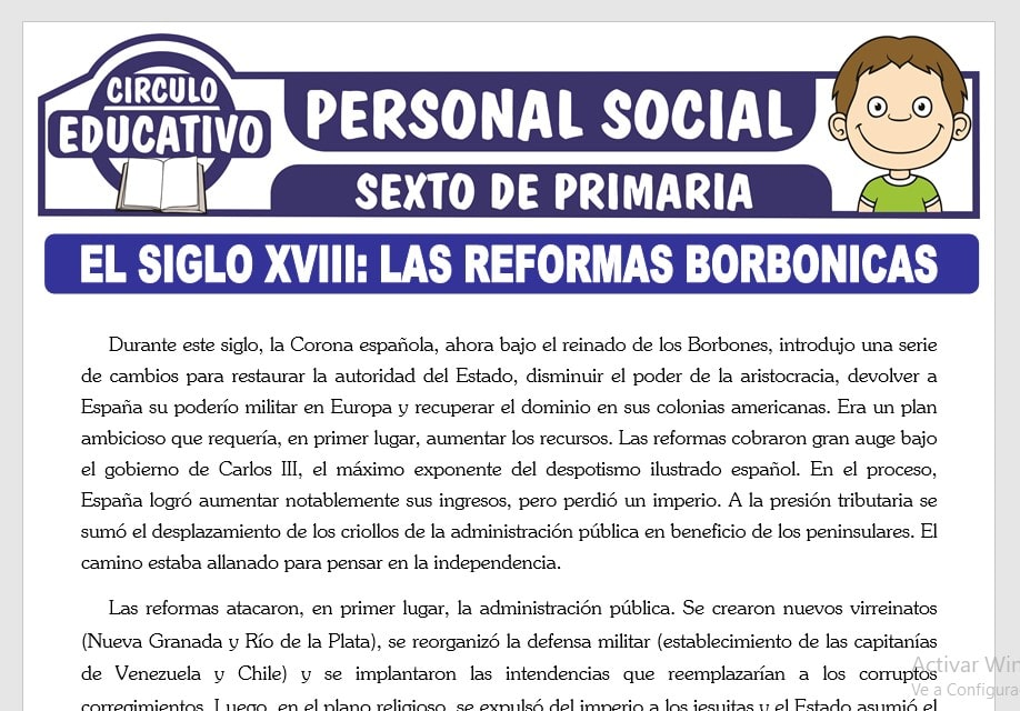 Las Reformas Borbónicas para Sexto de Primaria