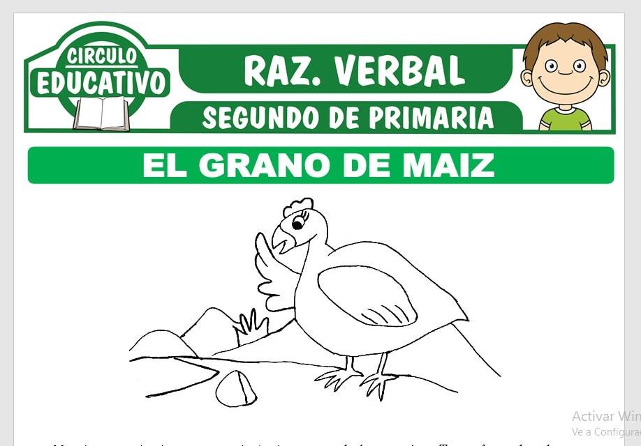 Lectura sobre El Grano de Maiz para Segundo de Primaria