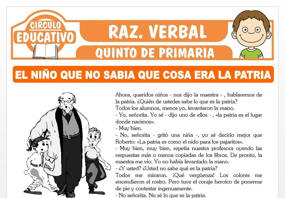 Lectura sobre El Niño que no Sabia que cosa era la Patria para Quinto de Primaria