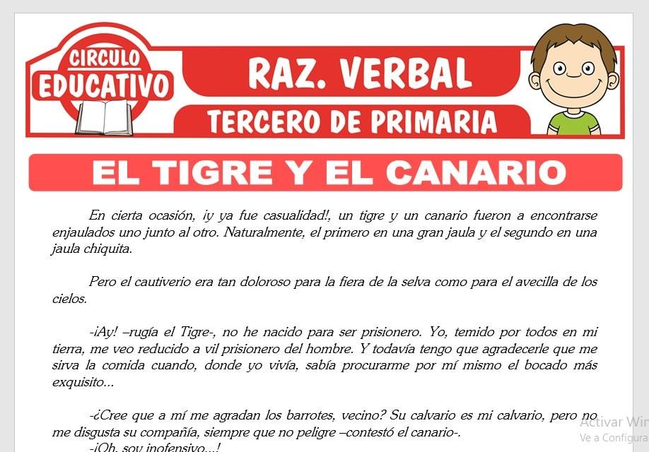 Lectura sobre El Tigre y El Canario para Tercero de Primaria