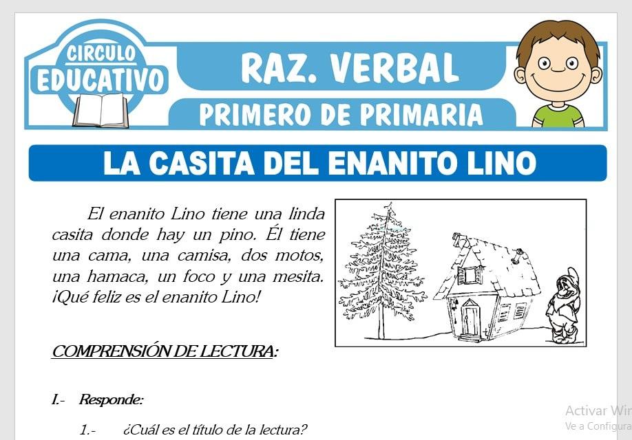 Lectura sobre La Casa del Enanito Lino para Primero de Primaria
