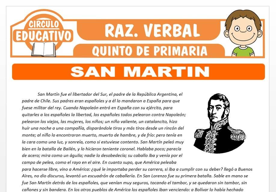 Lectura sobre San Martin para Quinto de Primaria