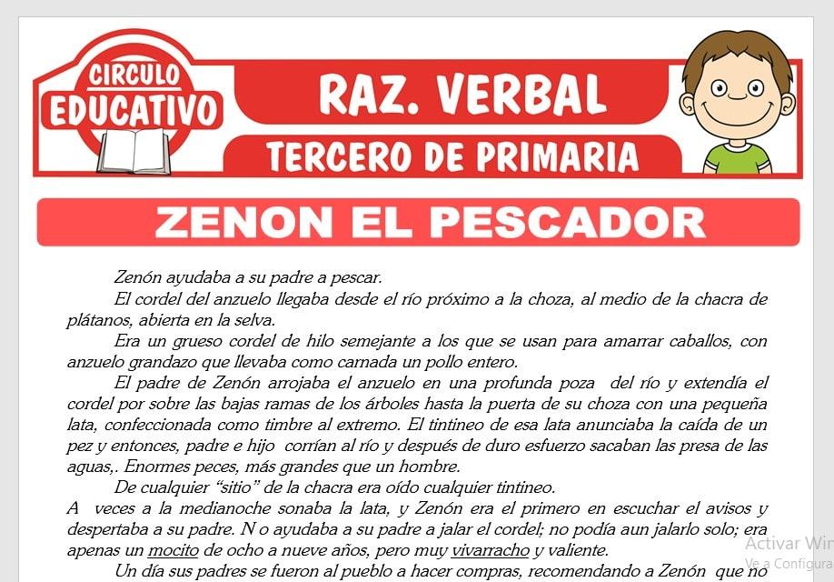 Lectura sobre Zenon el Pescador para Tercero de Primaria