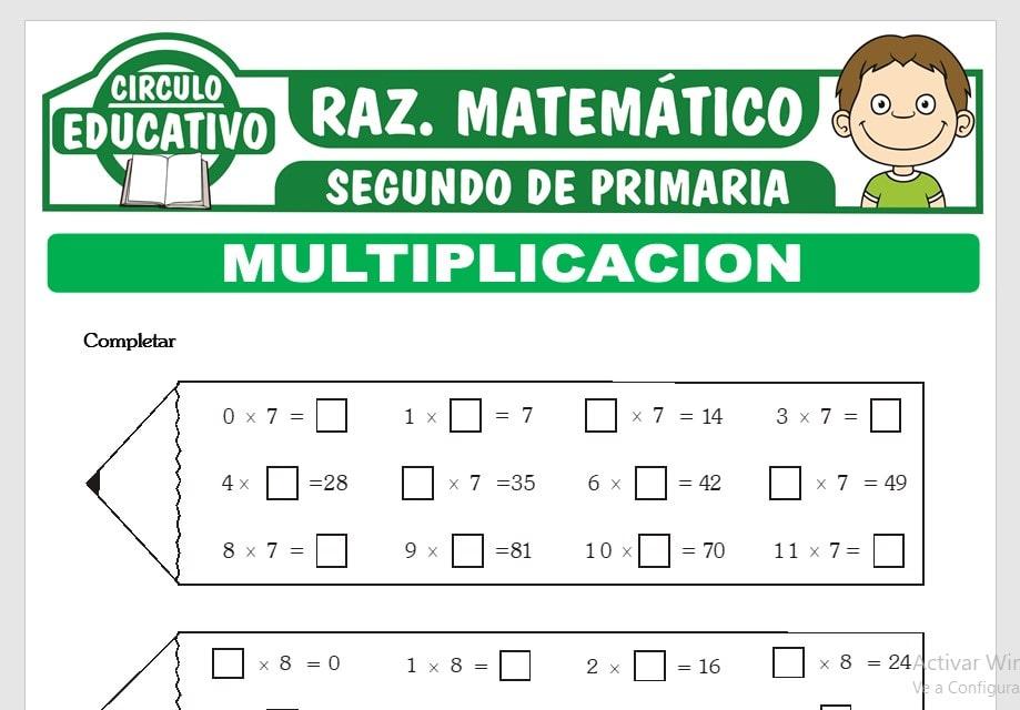 Multiplicaciones para Segundo de Primaria