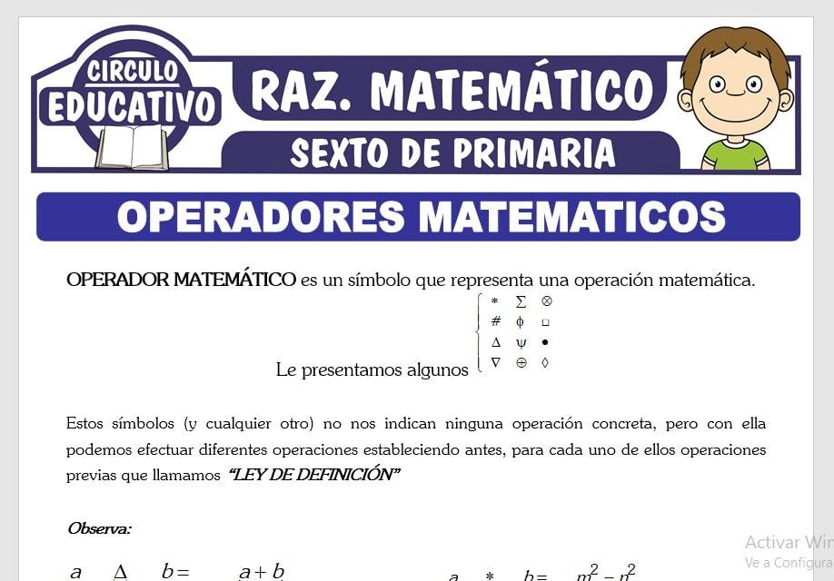 Operadores Matemáticos Ejercicios para Sexto de Primaria