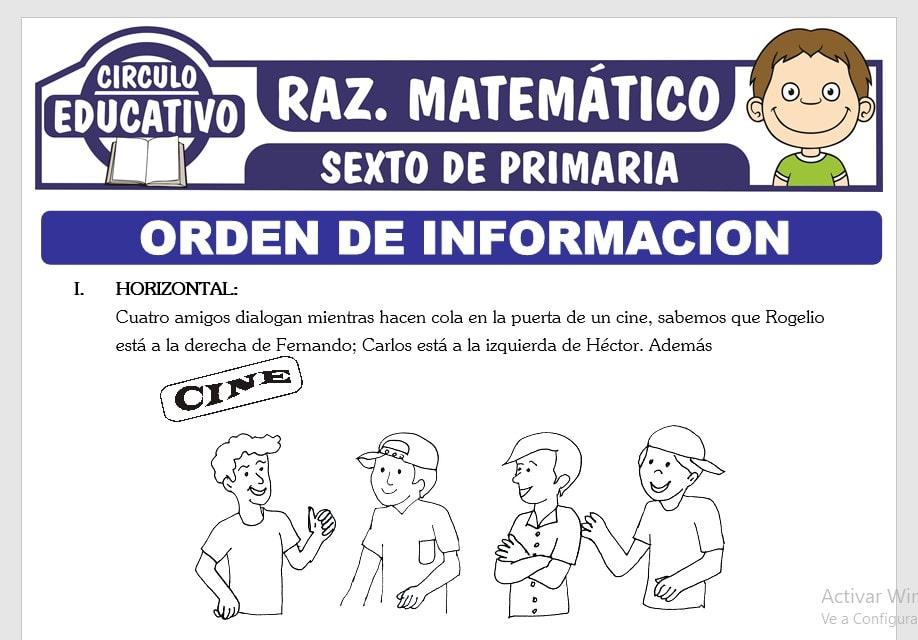 Orden de Información Lineal y Circular para Sexto de Primaria