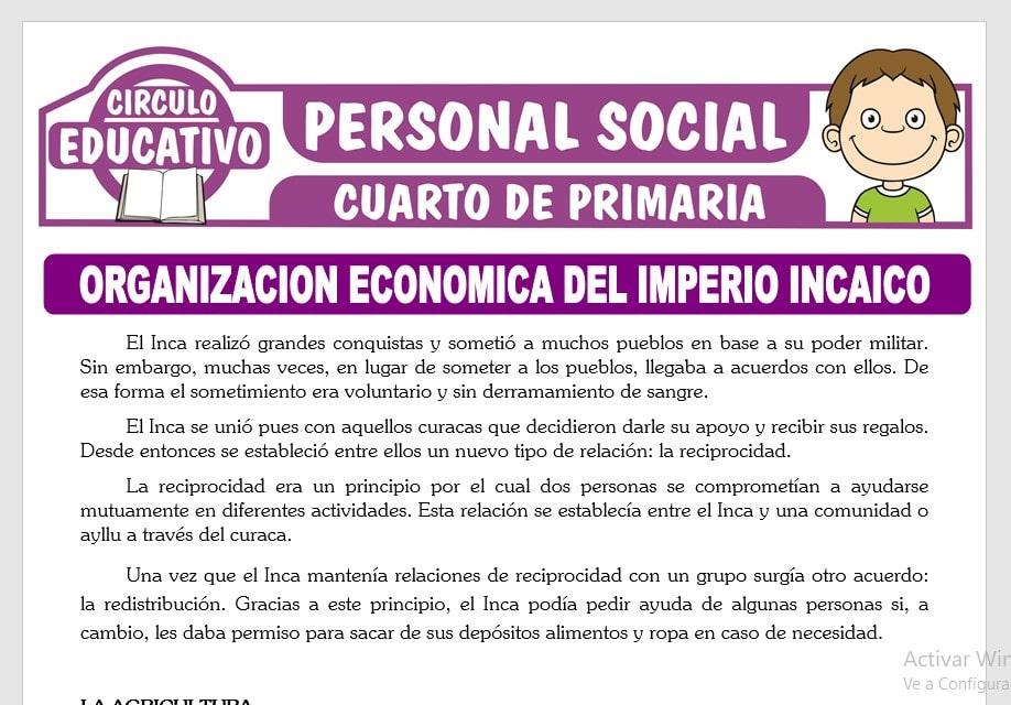 Organización Económica del Imperio Incaico para Cuarto de Primaria