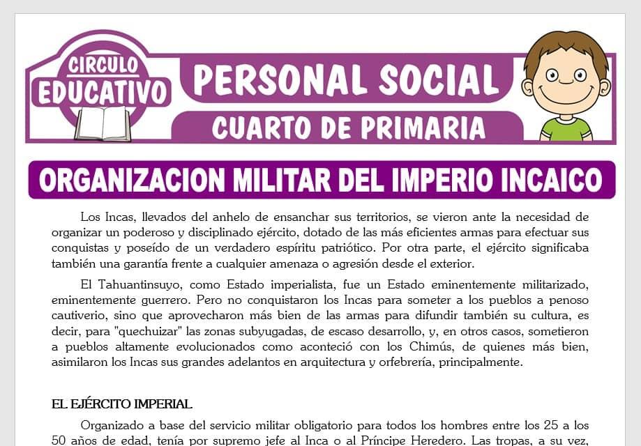 Organización Militar del Imperio Incaico para Cuarto de Primaria