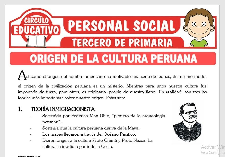 Origen de la Cultura Peruana para Tercero de Primaria