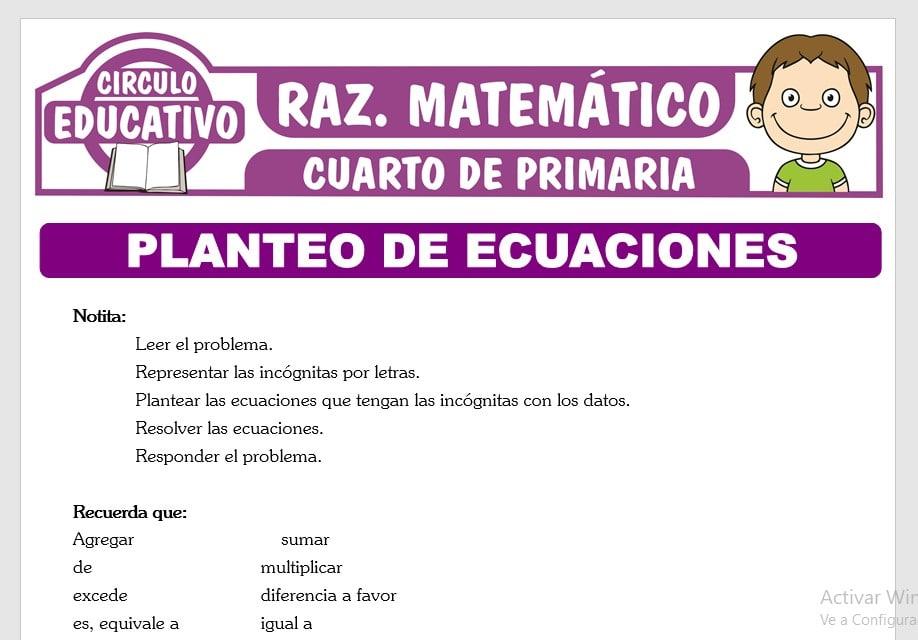 Planteo de Ecuaciones para Cuarto de Primaria