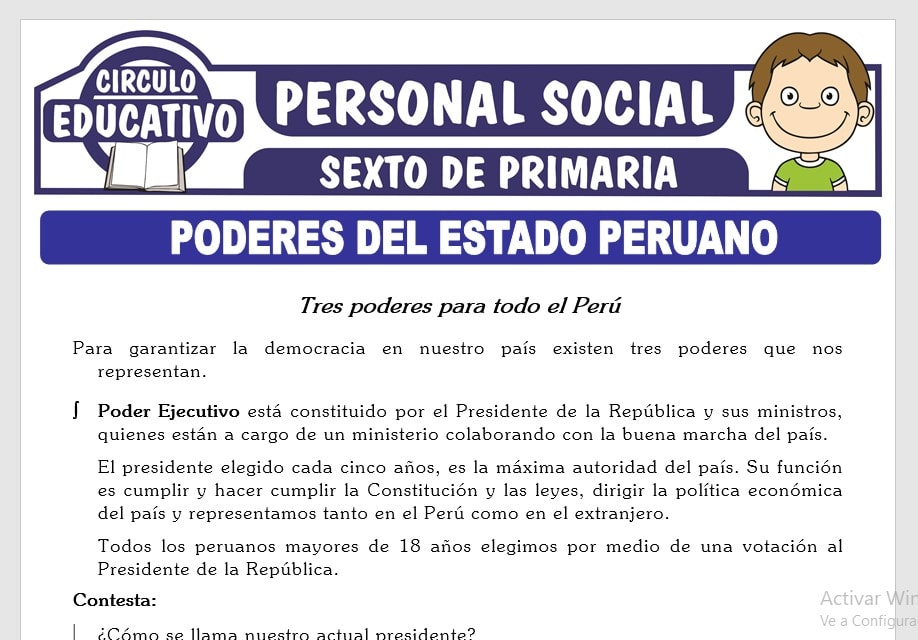 Poderes del Estado Peruano para Sexto de Primaria