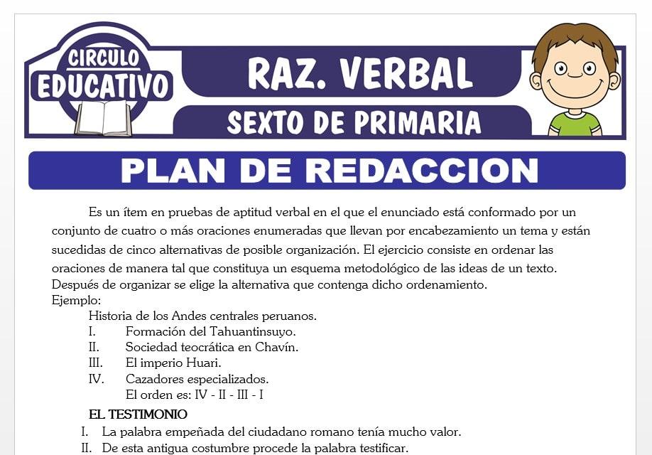 Práctica de Plan de Redacción para Sexto de Primaria
