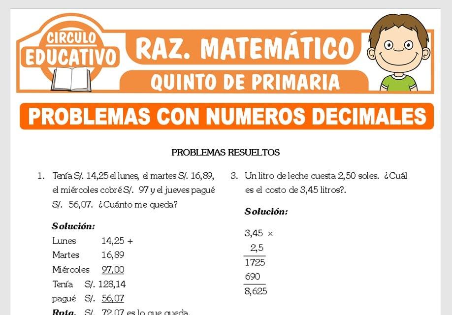 Problemas con Números Decimales para Quinto de Primaria